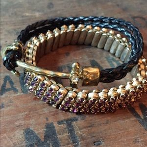 Gold anchor purple stone bracelet set